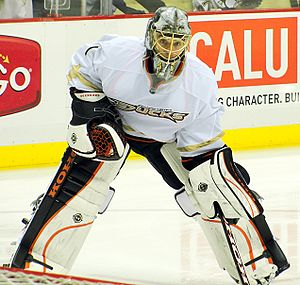Anaheim Ducks - Signed as a backup goalie in 2007, Jonas Hiller quickly emerged as the Duck's starting goaltender. He played for the team from 2007 to 2014.