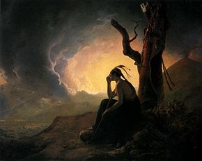 Joseph Wright of Derby. The Widow of an Indian Chief Watching the Arms of Her Deceased Husband.1785..jpg