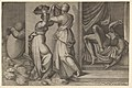 Judith giving the head of Holofernes on a platter, which is about to be covered with a cloth, to her servant, with the foreshortened, naked body of Holofernes at right MET DP831909.jpg