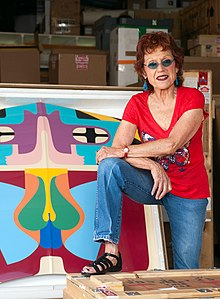 Judy Chicago with flight hood.jpg