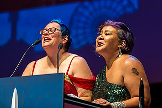 Uncanny Magazine - Julia Rios and Michi Trota accepting the Hugo Award for best semiprozine at Worldcon in Helsinki 2017.