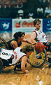 Julianne Adams dives for ball in 1996 Women's wheelchair basketball.jpg