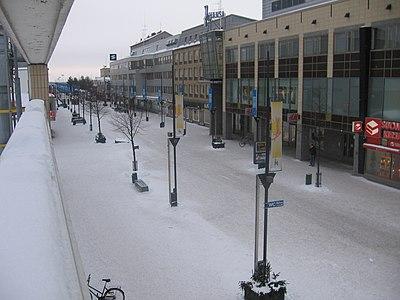 Gågatan i Kouvola på vintern