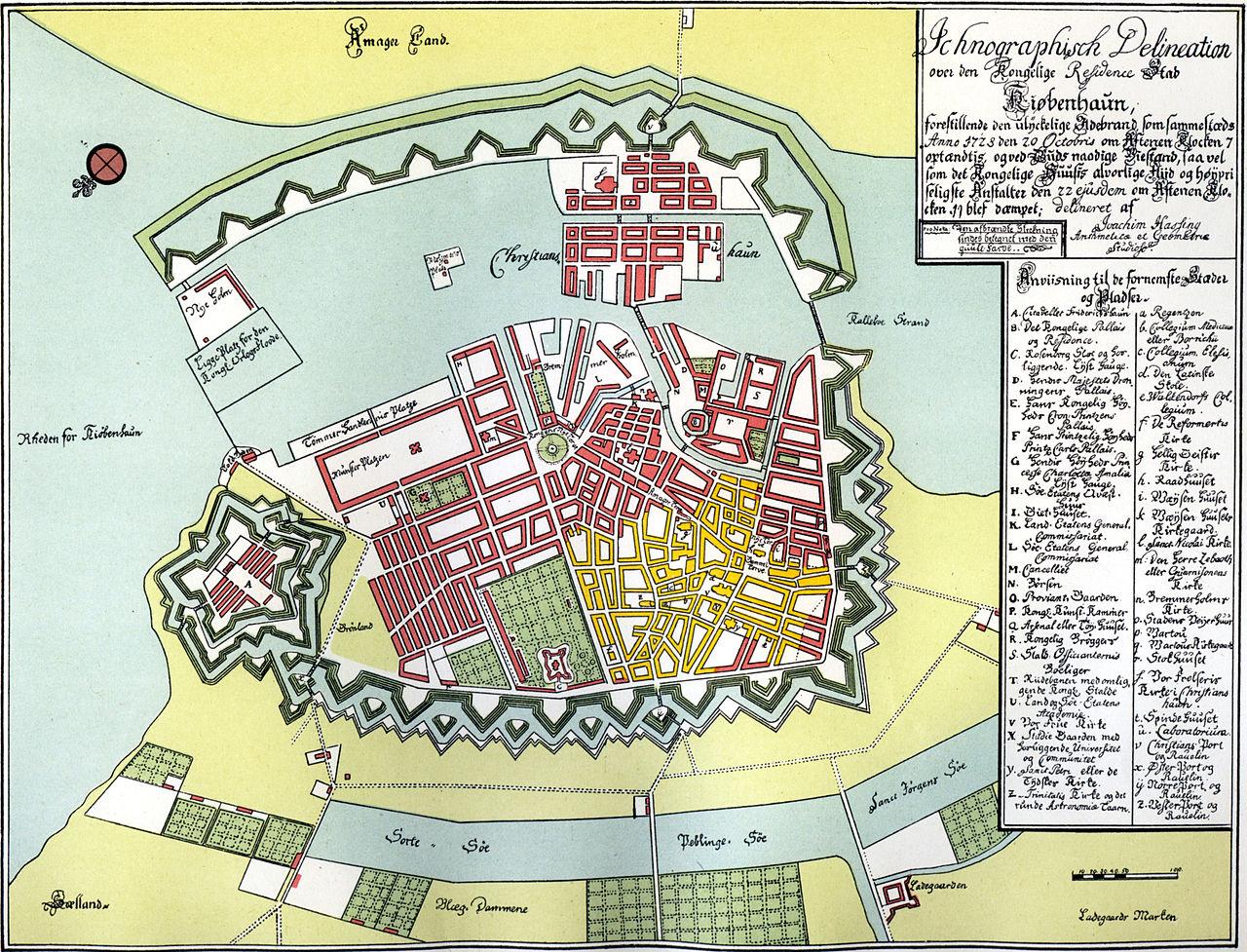 Карта Копенгагена 1728 года авторства Иоахима Хассинга. Жёлтым показаны сгоревшие дома.