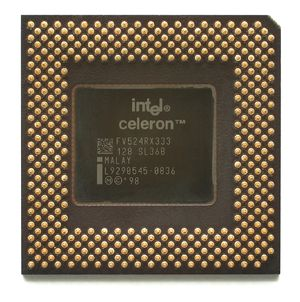 Celeron - Underside of a Mendocino-core Socket 370 Celeron, 333 MHz.