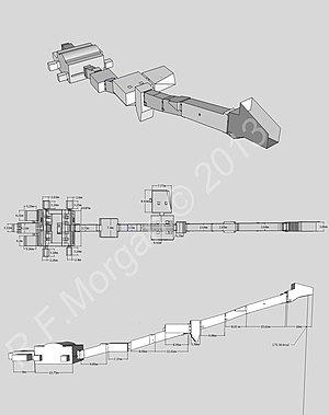 KV8 - Isometric, plan and elevation images of KV8 taken from a 3d model