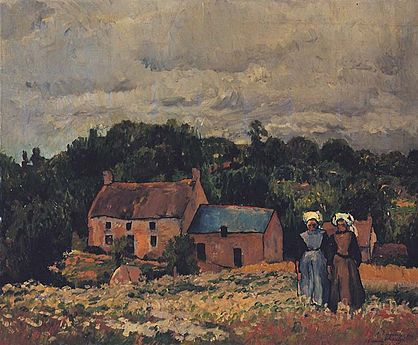 Landscape painting with a house in the distance and two small figures in the bottom right