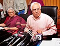 Kapil Sibal briefing the media on two years' of Right to Education (RTE), in New Delhi on March 31, 2012. The Secretary, SE&L, Ministry of HRD, Smt. Anshu Vaish is also seen.jpg