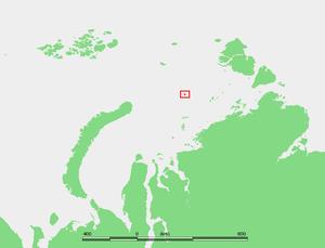 Uyedineniya Island - Location in the Kara Sea.