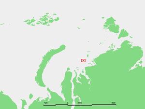 Sverdrup Island (Kara Sea) - Location of Sverdrup Island in the Kara Sea
