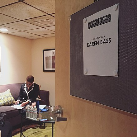 Congresswoman Karen Bass in the green room at Real Time with Bill Maher in 2018.
