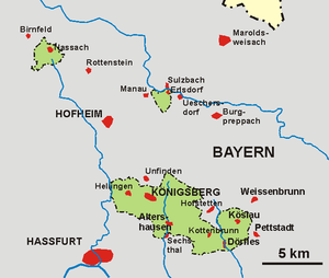 Free State of Coburg - Map of the Enclave of Königsberg