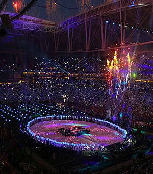 Super Bowl XLIX halftime show - A faraway shot of the halftime show performance and the stage