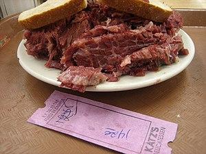 American Jewish cuisine - A corned beef sandwich at Katz's Delicatessen in New York City