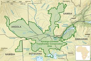 Kavango–Zambezi Transfrontier Conservation Area - Image: Kavango Zambezi Transfrontier Conservation map de