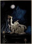 Kay Nielsen - Orienta de la suno kaj okcidente de la luno - la tri princinoj en la blua mountain.jpg