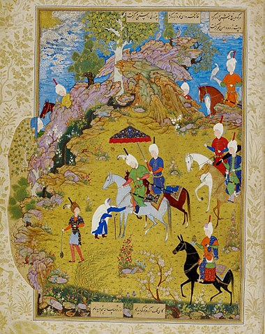 Миниатюра тебризской школы XVI века «Султан Санджар и старуха» Султана Мухаммеда. Британская библиотека, Лондон