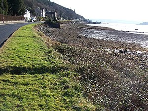 Kilmun looking east along the Holy Loch shoreline towards Strone