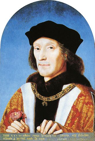 Henry VII of England - Henry holding a rose and wearing the collar of the Order of the Golden Fleece, by unknown artist, 1505