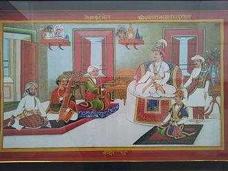 Bhimsen Thapa - King Rana Bahadur Shah and Bhimsen Thapa listening to Mitra Karim Sen's singing