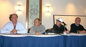Mark Evanier - Evanier speaking on a panel about Jack Kirby with (from left to right) Roy Thomas, Joe Sinnott and Stan Goldberg, at the Big Apple Con in Manhattan, November 15, 2008