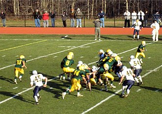 Option offense - The option offense can be run out of various formations. Here, Morris Knolls High School of Denville, New Jersey is running the veer option.