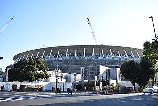 New National Stadium (Tokyo) building in Kasumigaokamachi, Tokyo, Japan