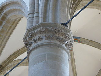 Brabantine Gothic - Decorated capital at round column of the nave in the Grote Kerk in Dordrecht