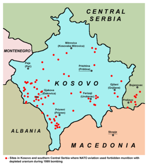 Uranium in the environment - Sites in Kosovo and southern Central Serbia where NATO aviation used depleted uranium munitions during 1999 bombing