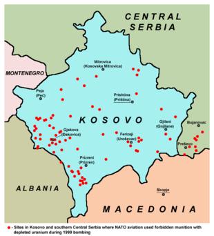 I punti rossi indicano le zone in cui sono stati usati munizionamenti ad Uranio impoverito