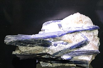 Kyanite - Kyanite within quartz, as collected by Dr John Hunter, Hunterian Museum, Glasgow