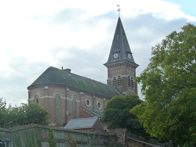 L'église de   Lécluse,  Nord.- (Nord-Pas-de-Calais).-  France