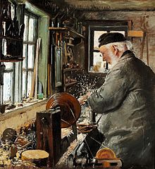 A turner at his lathe