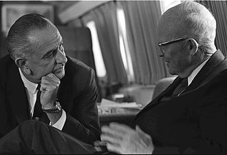President Lyndon Johnson with Eisenhower aboard Air Force One in October 1965 LBJ and Eisenhower.jpg