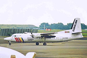 SAS Commuter - Eurolink Fokker 50 at Copenhagen Airport in 2000
