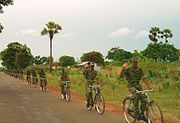 A LTTE bicycle infantry platoon north of Killinochi in 2004