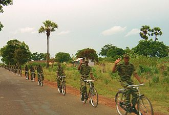 Liberation Tigers of Tamil Eelam - An LTTE bicycle infantry platoon north of Kilinochchi in 2004