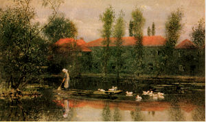 Merton Abbey Mills - Image: L L Pocock Pond at Merton Abbey