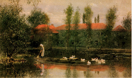 The Pond at Merton Abbey by Lexden Lewis Pocock is an idyllic representation of the works in the time of Morris L L Pocock Pond at Merton Abbey.jpg