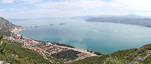 Lake Eğirdir - The lake with the town (on the left) and the two islands with the causeway