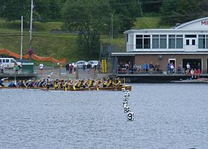 English: a warcanoe race on lake banook in dar...