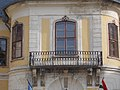 Lamberg Mansion, corbel supported wrought iron balcony, 2017 Mór.jpg