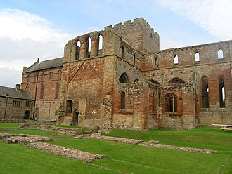 Lanercost Priory - Lanercost Priory from the south. The foundations of the conventual buildings are in the foreground