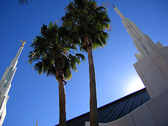 Sunrise Manor, Nevada - Palm trees are seen on the grounds of the Las Vegas Nevada Temple in Sunrise Manor, Nevada