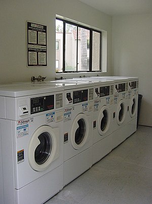 Self-service laundry - Part of the interior of a self-service laundry.