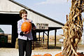 Laura Bush w pumpkin 102506.jpg