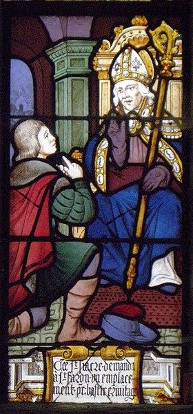 Vitrail de Saint-Fiacre dans la chapelle éponyme du Faouët (56).
