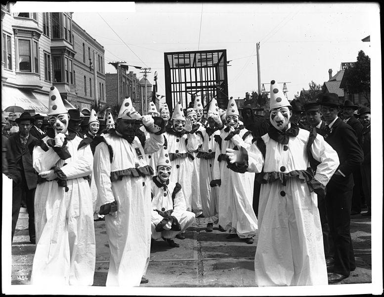 File:Leading businessmen, John G. Francis and others, as clowns in the La Fiesta de Los Angeles Fool's night, ca.1900-1911 (CHS-1454).jpg