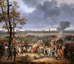 Painting shows long lines of white-coated Austrian soldiers filing out of the city of Mantua.
