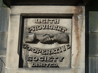 Scotmid - Relief sculpture at premises once owned by Leith Provident Co-operative Society Limited in Dalmeny Street, Edinburgh, from 1890